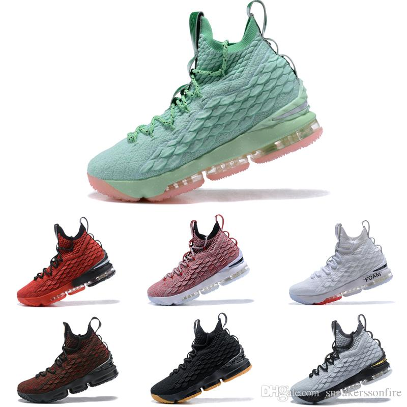 173b18838995 New Arrival Lebron 15 Mint Green Pink Mens Basketball Shoes James 15 ...