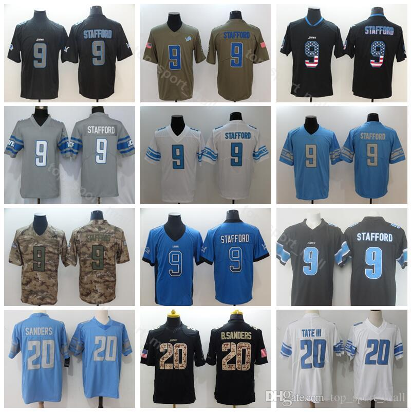 best service e60c9 dca6c Detroit Lions Football 9 Matthew Stafford Jersey Men Blue White 20 Barry  Sanders Vapor Untouchable Salute to Service Army Green USA Flag