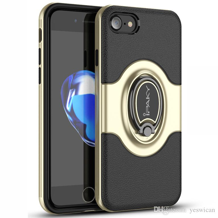super popular fc099 0ad01 iPaky Case For iPhone 7/8/7 Plus/8 Plus Back Cover PC TPU 2 In 1 Pretective  Cases With Ring Stand Holder Magnet