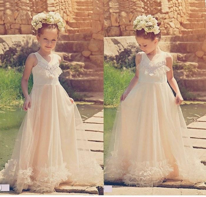 d2bbd4dce73ca Acheter Ivoire Fleur Fille Robes Tulle Princesse Longue Demoiselle  D honneur Enfants Robes Pour La Fête De Mariage Enfants Robe Ytz299 De   60.41 Du Fabao666 ...