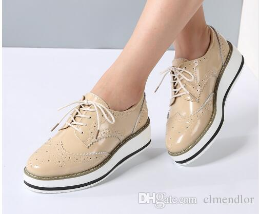 a3cc0d27866 Women Platform Oxfords Brogue Flats Shoes Patent Leather Lace Up Pointed  Toe Brand Female Footwear Shoes for women Creepers