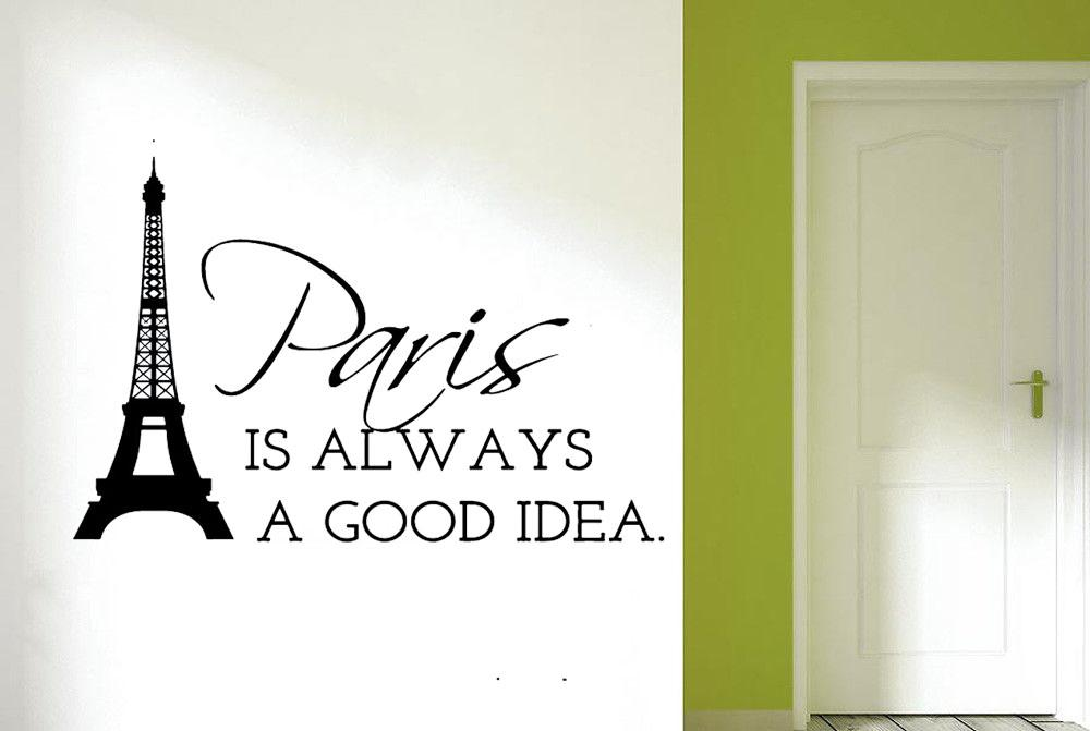 Paris Eiffel Tower Quote Wall Sticker Art Room Detachable Decal Diy