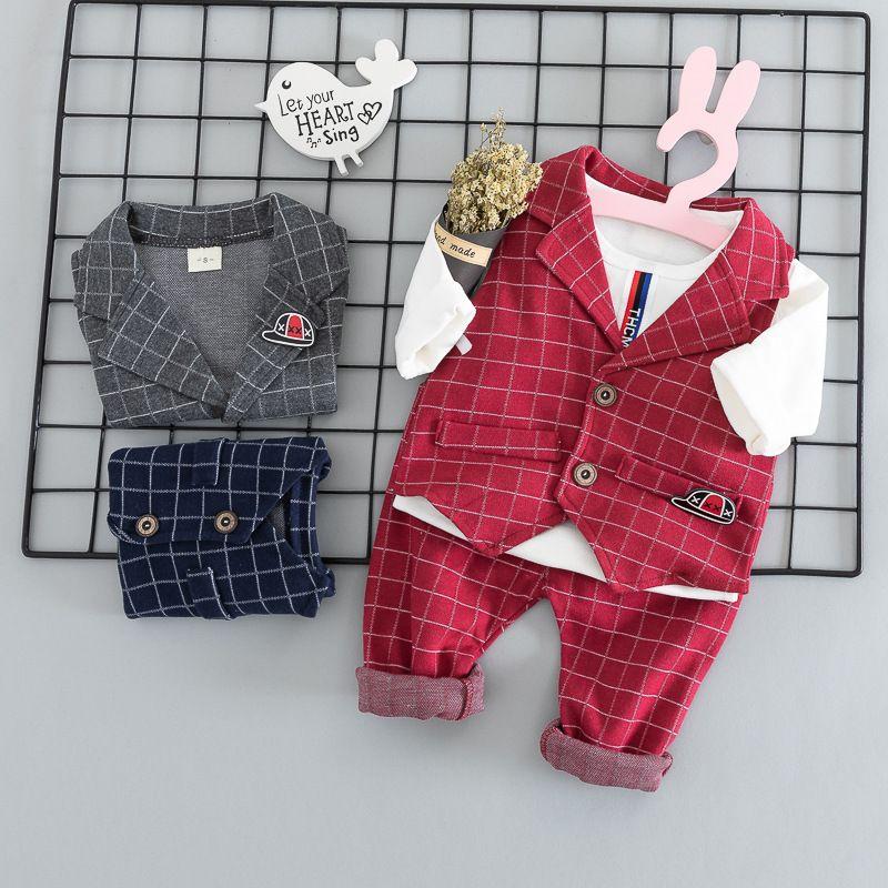 53b4602ad5ce 2019 BabyCollege Gentleman Clothes Kids Formal Suit Boy Shirt+Vest+ ...
