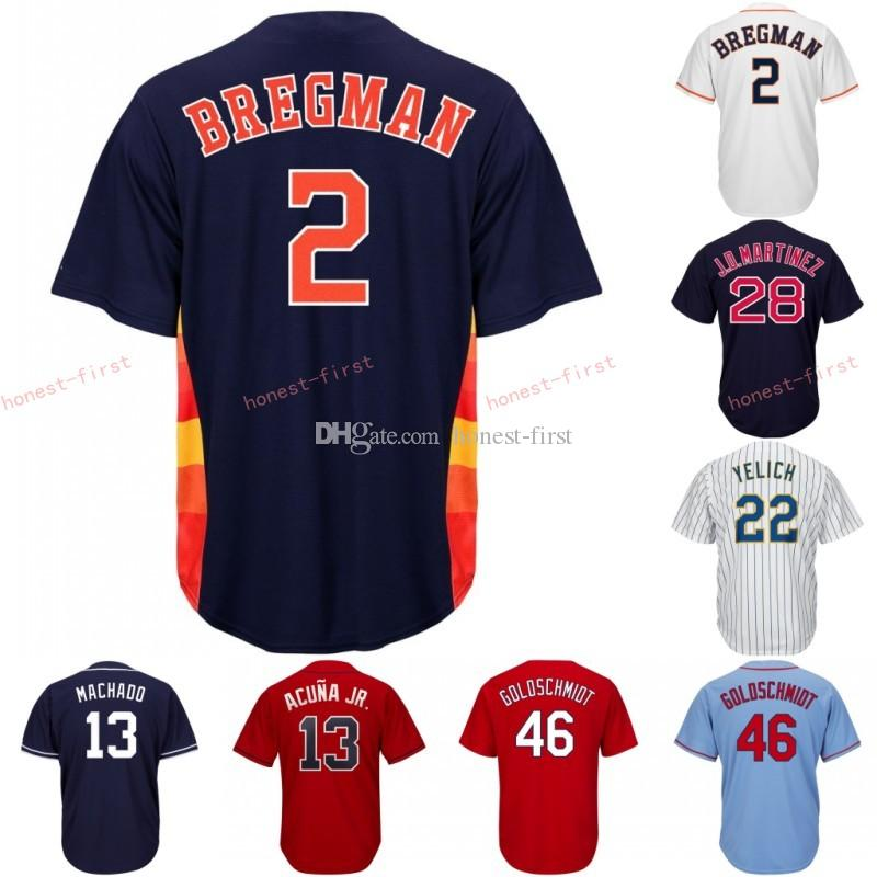 627b4e489 2019 2 Alex Bregman Houston Jersey Astros Embroidery Men S Majestic  Alternate Blue White Rainbow Official Cool Base Player Baseball Jerseys  From Honest ...