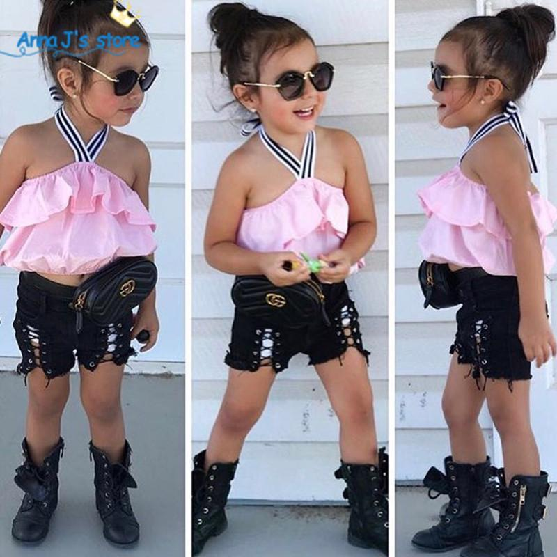 ab4e4fee2717 Conjuntos de ropa para niñas 2019 Conjuntos de ropa de verano para niños  Sin mangas Top con cordones de color rosa pantalones cortos negros 2 unids  ...