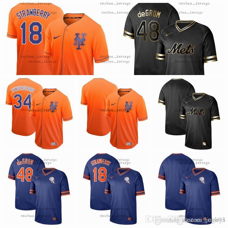 check out c4df7 f8e61 Men Women Kid New York Jerseys Mets #18 Strawberry 48 deGROM 34 Syndergaard  Camo Fashion Stars Baseball Flexbase Black gold Jersey