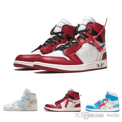 newest e896f fcd88 Acheter 2018 ACE Cheap Off Air Jordan Retro 1s Femmes Hommes Chaussures De  Basket Ball 1 UNC Chicago Triple Blanc Rouge Chaussures Griffées Mens  Designer ...