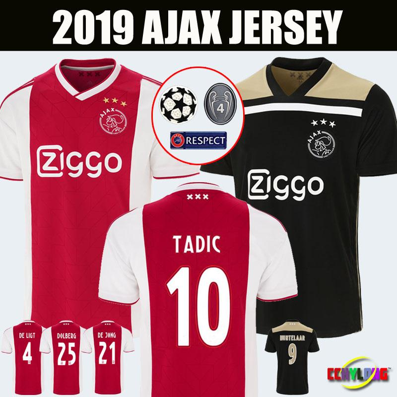 new arrival 9aab4 954a0 Ajax home red Soccer Jerseys 18/19 Ajax away Shirts 2018 2019 #10 TADIC  ZIYECH DE JONG SCHONE Champions Kids Youth football Uniform