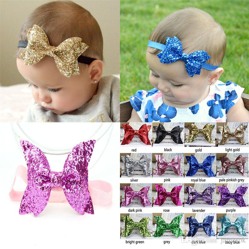 2384b85f5fe27 NEW Infant Baby Girls Big Glitter Shiny Sequin Bow Headbands Knot Toddler  Spring Stretchy Hairwrap Children s Princess Hair Accessories DC
