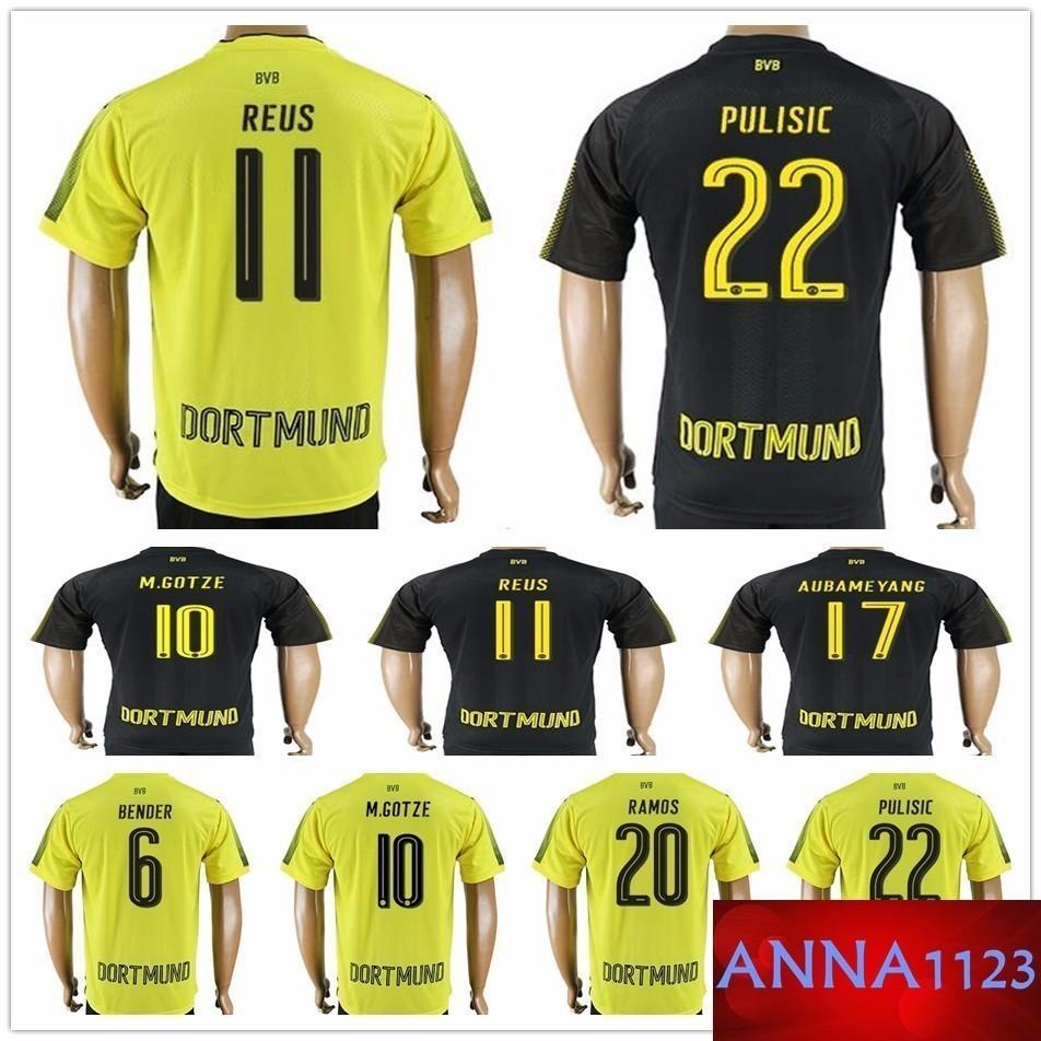 new style 87ed3 72b87 Thailand Quality 17 18 Soccer Jerseys 11 REUS 22 PULISIC 17 AUBAMEYANG  M.GOTZE MKHITARYAN WEIGL KAGAWA PASSLACK Customize Football Shirt