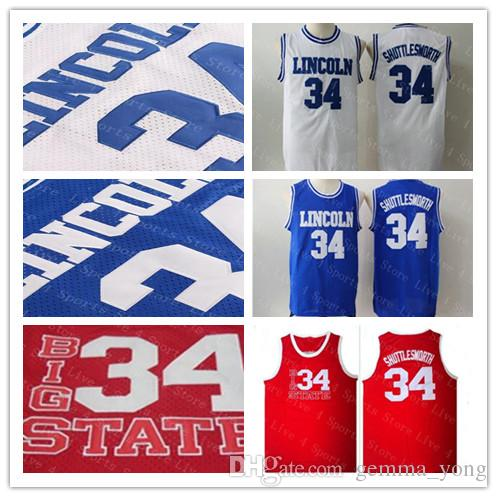 new product 3d18c 5edf1 Cheap Men Jesus 34 Jesus Shuttlesworth Jersey Lincoln He Got Game Movie  Basketball Mesh Jerseys Blue White Red 100% Stitched Shirt Good