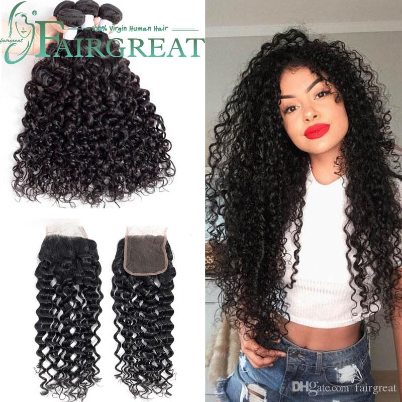 Afro Kinky Curly Hair 3pc With closure Natural Color 10-28inch Brazilian Hair Weave Bundles Non Remy Human Hair Free Shipping