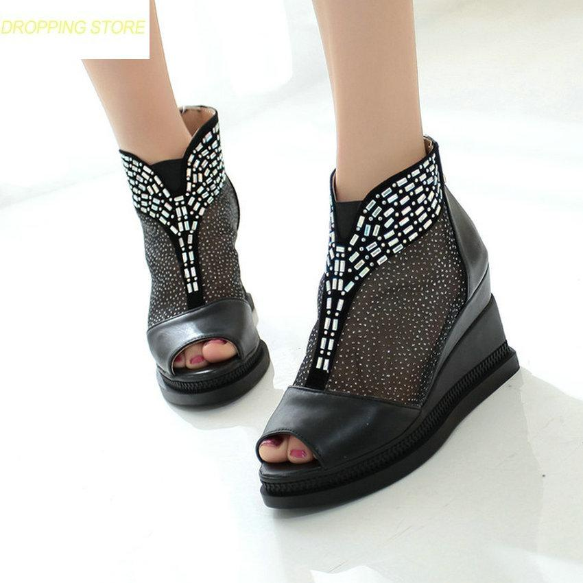 b35c57b528384 Women High Top Breathable High Heels Roman Gladiator Sandals Open Toe Platform  Wedge Party Rhinestones Greepers Hot Online with  72.03 Piece on  Facebooks s ...