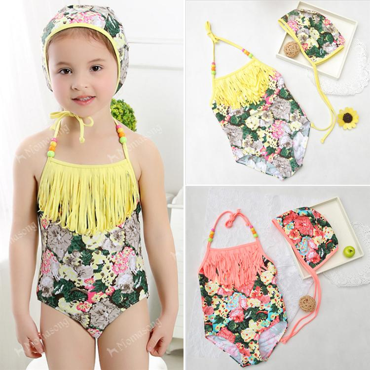 38e1acc36 Kids Swimwear Girls Floral Print Tassel Suspender Swimwear Summer ...