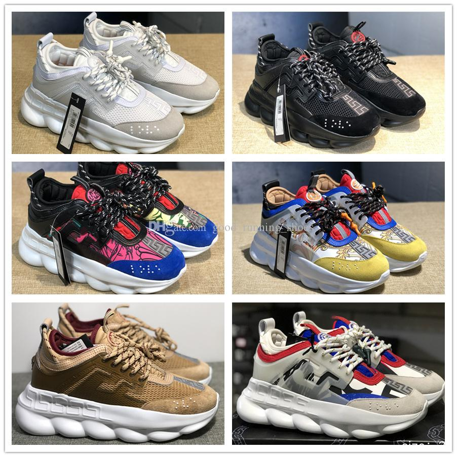 2019 New Chain Reaction Casual Ladies Designer Shoes Mens Womens Fashion District Medusa Link-Embossed Sole Trainer US5.5-11