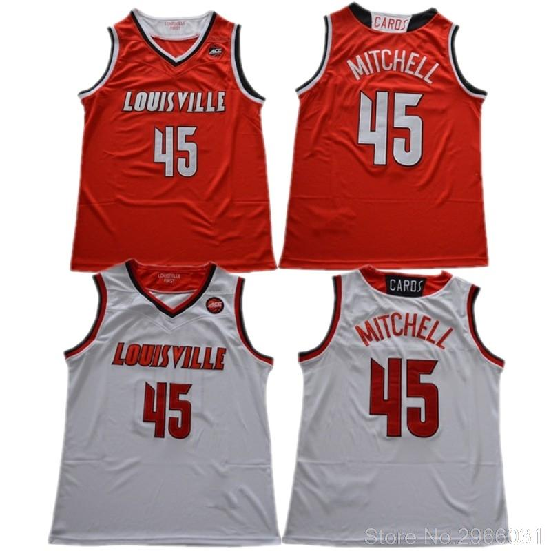 on sale ec709 abade Louisville Cardinals College Donovan Mitchell #45 jersey Stitched White Red  Black Size S-XXL Free Shipping