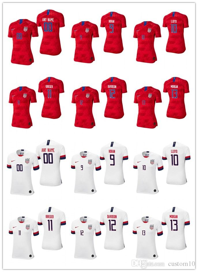 brand new bd66b 3bdc4 Women s usa 9-lindsey-horan 10-carli-lloyd 11-ali-krieger  12-tierna-davidson 13-alex-morgan-white red 2019-world-cup-jersey