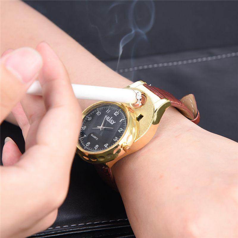 875aaebab16a Compre HUAY Recargable USB Encendedor Reloj Sin Llama A Prueba De Viento  Encendedor De Cigarrillos Hombres Relojes Erkek Kol Saati Reloj Hombre Reloj  De ...