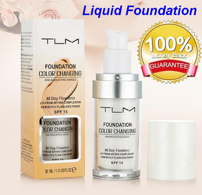 TLM Flawless Colour Changing Warm Skin Tone Foundation Makeup Base Nude Face Moisturizing Liquid Cover Concealer for Women Girls SPF15 bea12