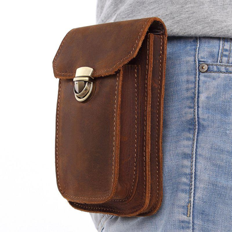 ceaa4f8c8c64 Men Genuine Leather Small Hook Phone Pouch Fanny Waist Bag Hip Bum ...