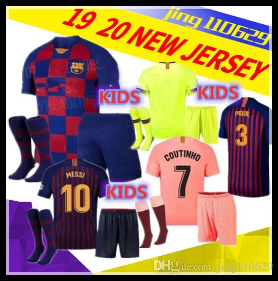 4a1f02a10 2019 Kids Kit+Socks 19 20 Barcelona Soccer Jersey 2019 MESSI SUAREZ ...