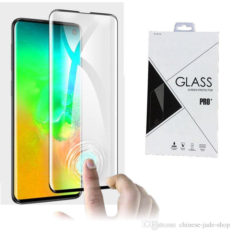 Support Fingerprint Unlock 3D Curved Tempered Glass Screen Protector For Samsung Galaxy S10 S10 PLUS 220pcs in retail package