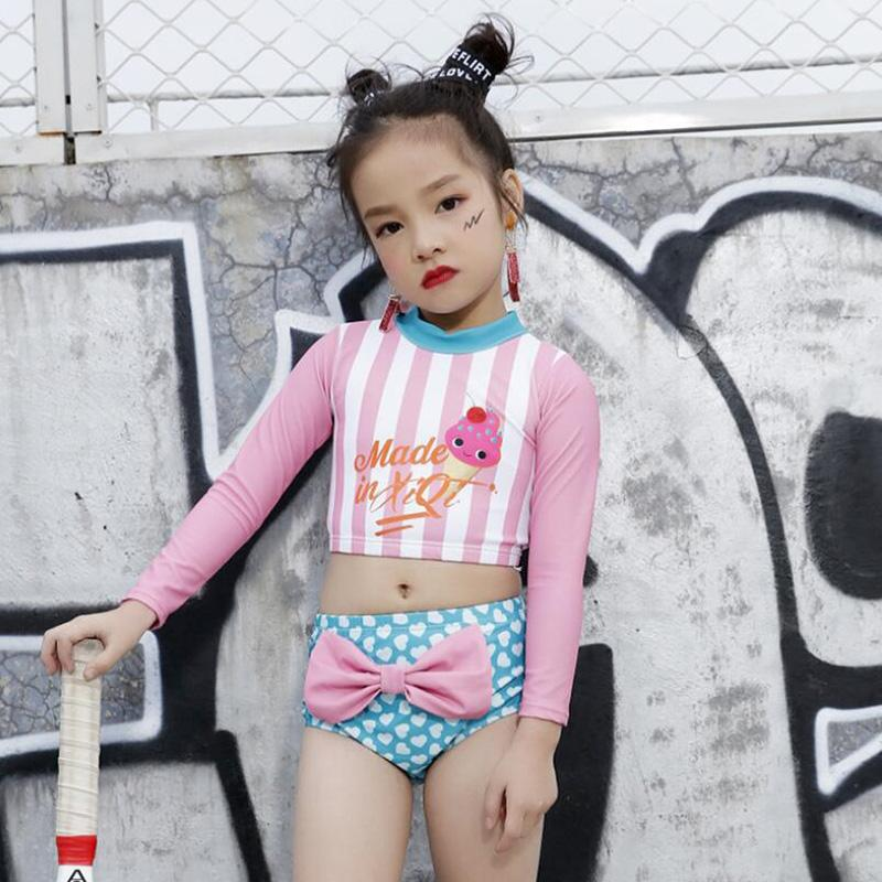 sunny eva girl children's swimwear swimming beach outlet May-female-beach sports suit for children long sleeve bikini girl