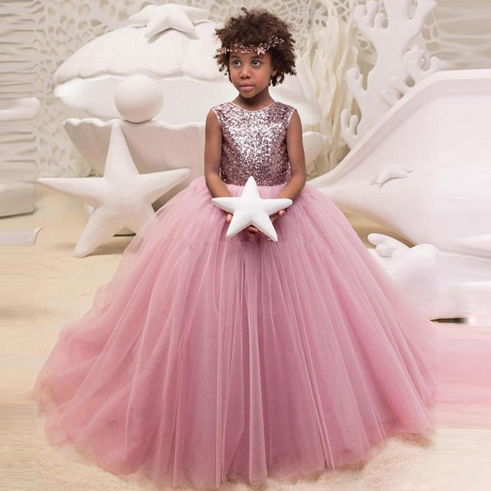 380b7266f2e 2019 Blush Pink Ball Gown Flower Girls Dresses For Wedding Sequin With Bow  Tie Tulle Kids Formal Wear Sweep Train Child Pageant Dress Flower Girl  Dresses ...