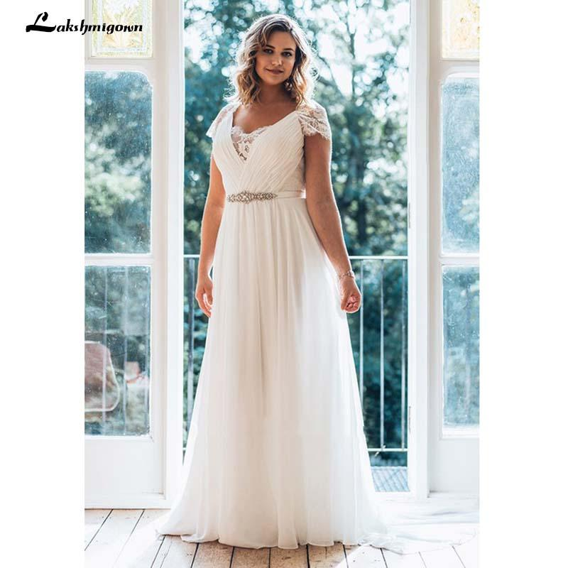 fb1478a6a1f Discount White Plus Size Wedding Dress A Line Floor Length V Neck Short  Sleeve Chiffon Sweep Train Illusion Lace Wedding Dress Monique Wedding  Dresses ...