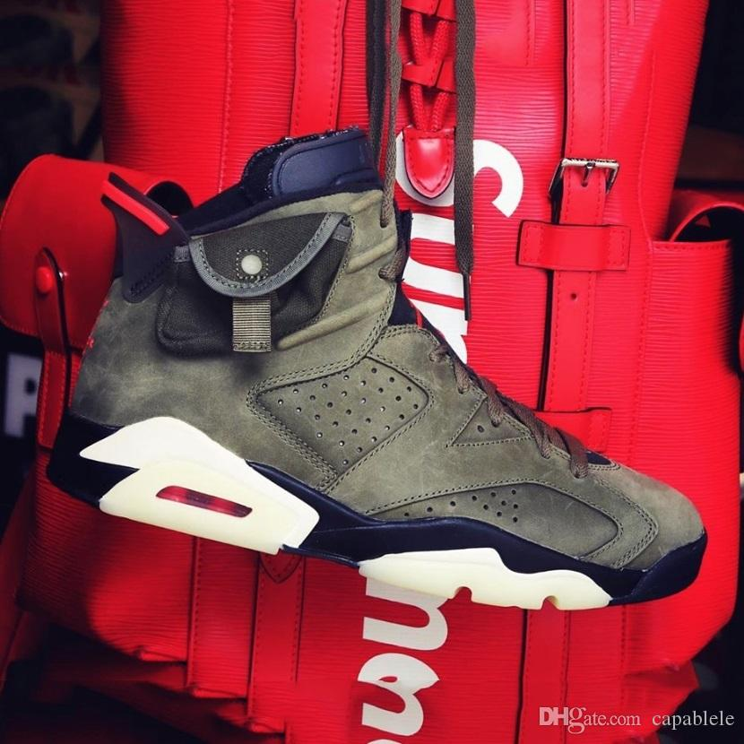 best service 09aaf 2feda With Box Travis Scott x AirJordan6Shoe Medium Olive Cactus Jack Army Green  Suede 3M Reflective Basketball Shoes CN1084-200