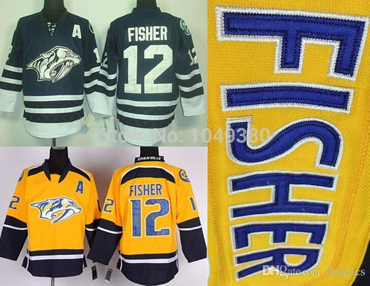 super popular 1c70b 2e0e0 2016 Wholesale Nashville Predators #12 Mike Fisher Jersey Home Yellow  Alternate Navy Blue Cheap Stitched Men's Ice Hockey Jerseys