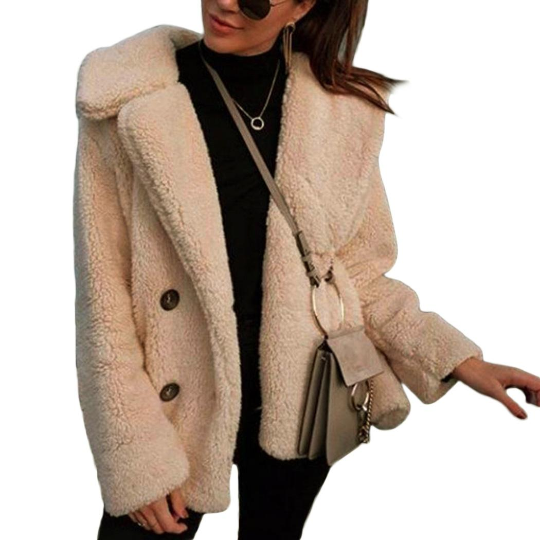 55c150688ce Women Teddy Coat Plus Size Casual Outerwear Autumn Winter Faux Fur ...
