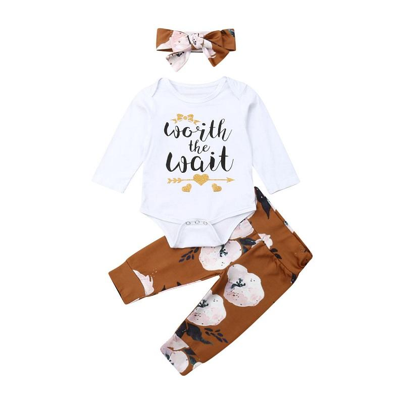 0-24m 3PCS Newborn Baby Girl Clothes White Cotton Tops Headband Print Long Pant Children Outfits Baby Clothes