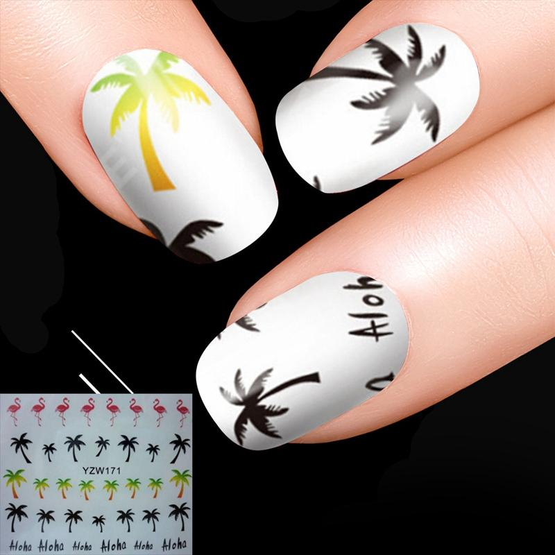 2312b33836c5b Coconut Tree Finger Wraps Tools Palm Flamingo Water Transfer Nail Stickers  Manicure Nail Art Water Decals Nail Stamping Nail Paint From Xiatian2, ...