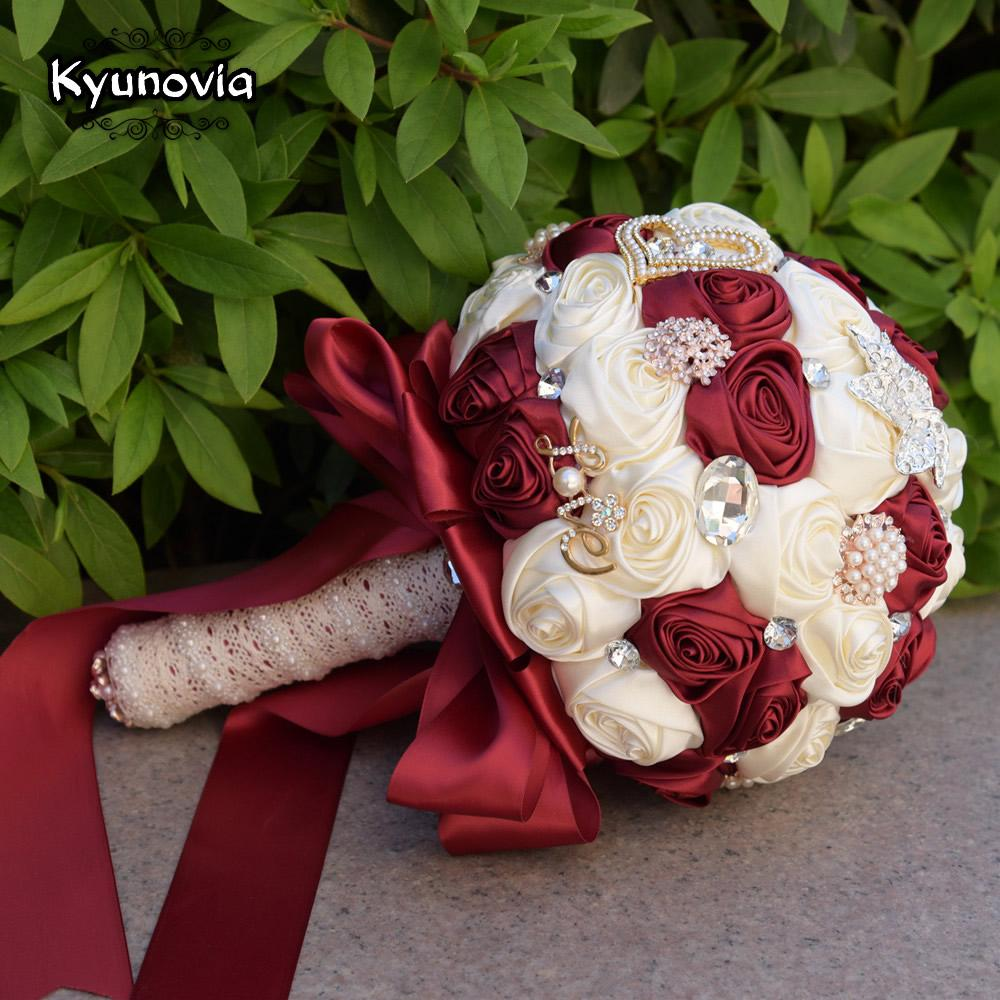 wholesale bridal wedding flowers satin roses bride bouquets love brooch  bouquet crystals artificial rose wedding bouquet