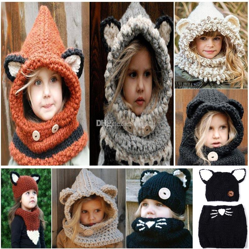 Girls Knitted Hats Scarf Cartoon Cat Rabbit Fox Ear Shapka Cape Cap For Kids Children Christmas Decorations Beanies Cap WX9-1136