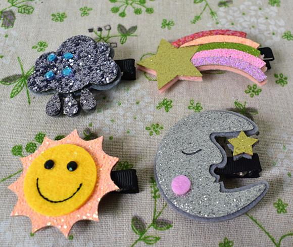 Cute Moon Hair Clips Sparkly Sun Glitter Rainbow Felt Animal Hairpin Girls Children Hair Accessories free shipping