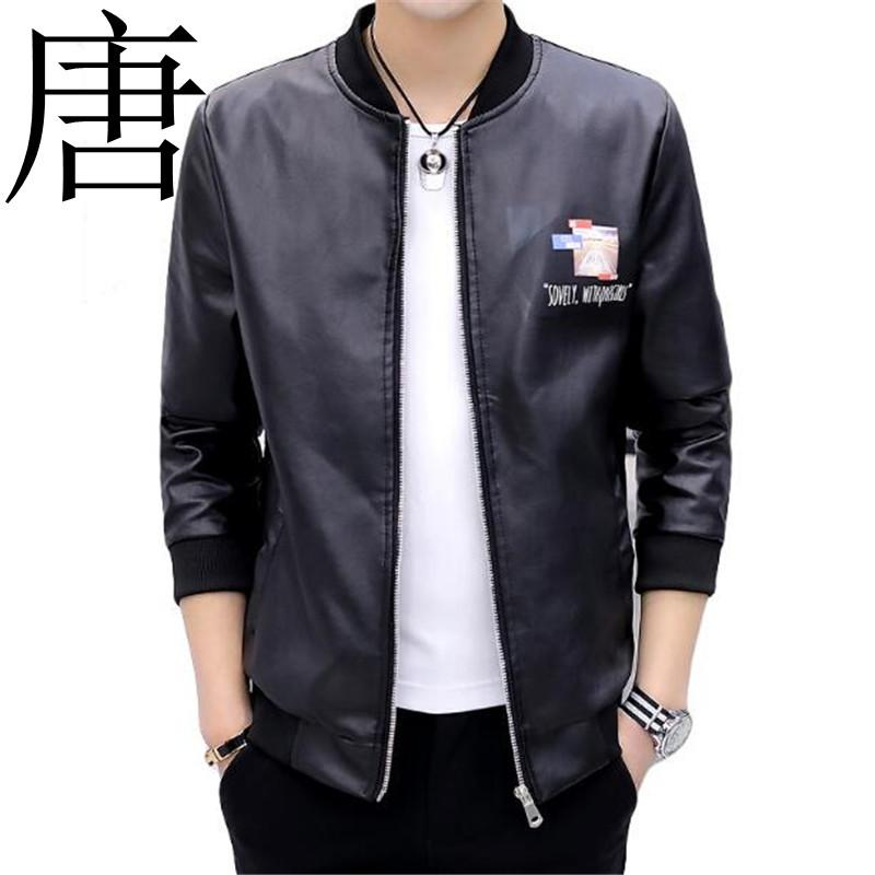 Tang cool 2019 New youth locomotive PU leather jacket fashionable leisure men's baseball collar large leather jacket