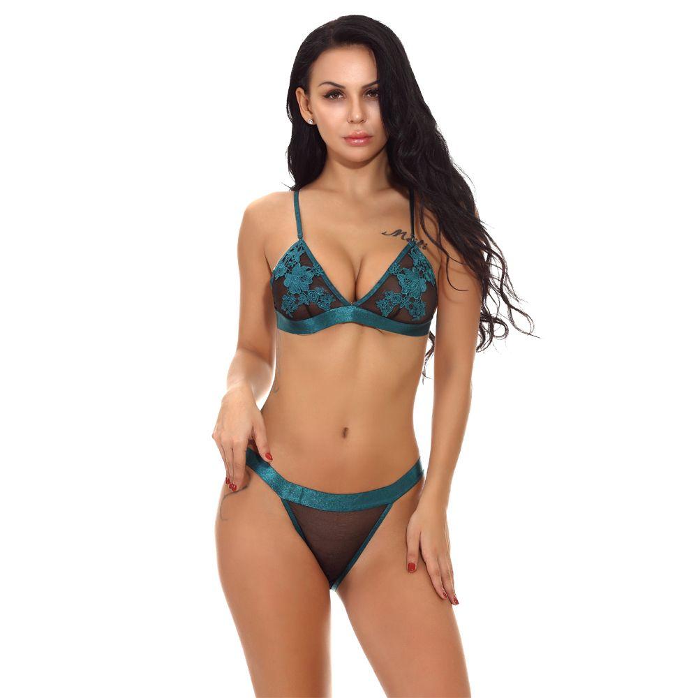 837b471dfe 2019 Sexy Lingerie Bra Panties Set Women Exotic Lace G String Thong Brief  Transparent Bikini Bras Underwear Intimate Girls Baby Dolls From  Haolincoat