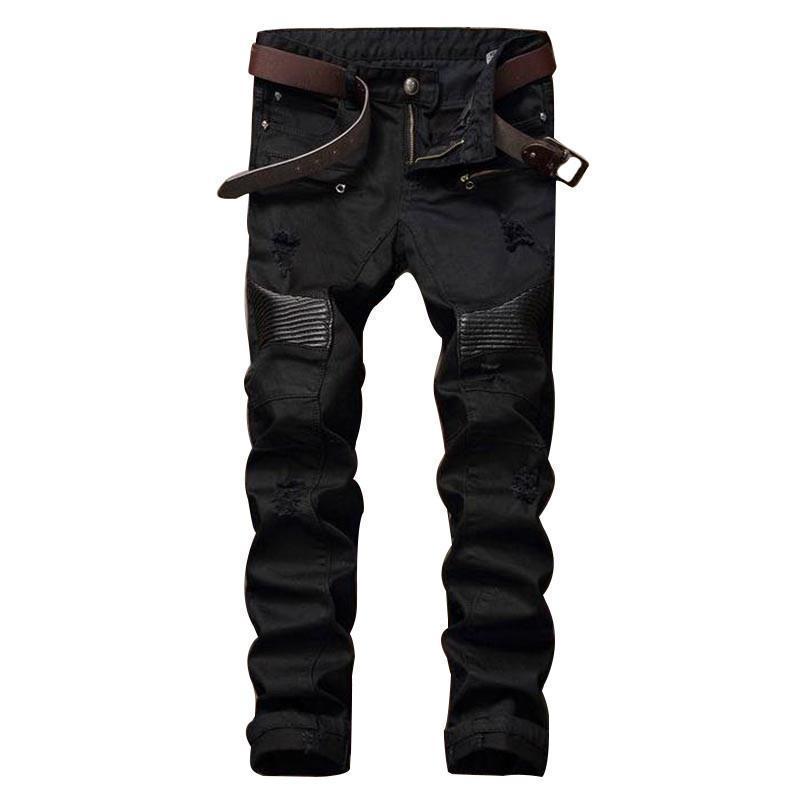 Acheter Designer De Mode Hip Hop Mens Biker Déchiré Jeans En Cuir Patchwork  Slim Fit Noir Denim Joggers Pour Homme Détresse Jeans Pantalon 28 28 De   67.53 ... db21e571a116