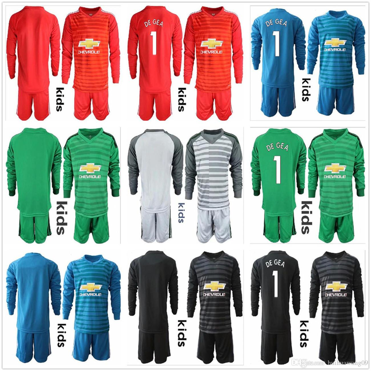 sports shoes be0c8 b6852 2018-19 Youth Long Sleeve Kids Boys De Gea Goalkeeper Soccer sets #1 David  De Gea keeper Soccer Sets #22 Romero Boy Jerseys Uniform Sets