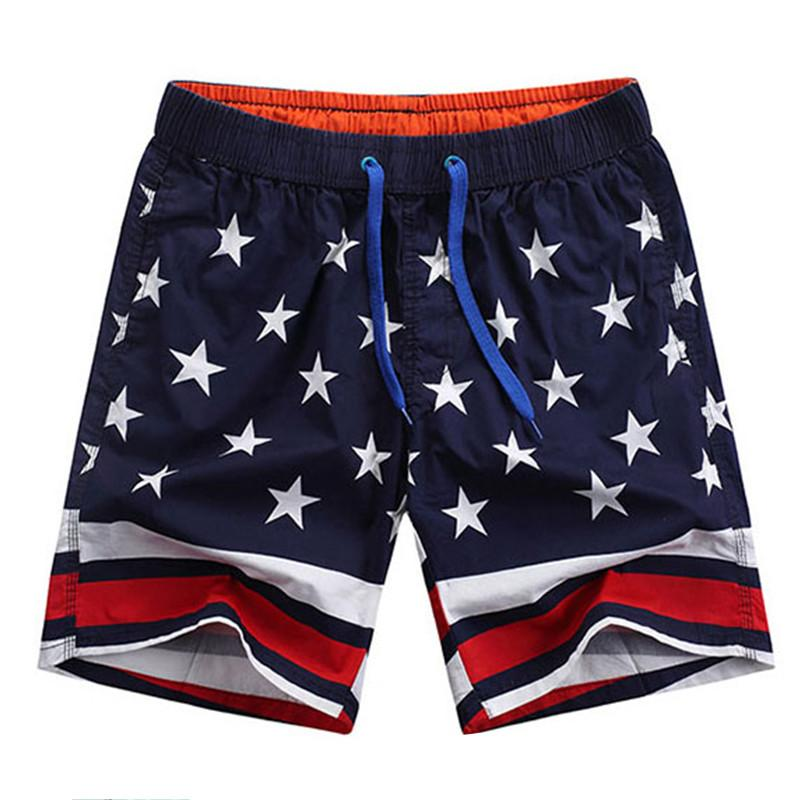81c61af51b7 2019 Casual Loose Elastic Waist Print Beach Shorts Men Usa Flag Board Shorts  100% Cotton Breathable Soft Men Short Bathing Pants From Sport1688