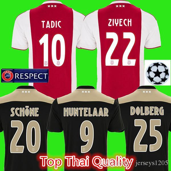 34425b7b44c 2019 Ajax Soccer Jersey 2018/19 Home Away ZIYECH TADIC Football Shirts DE  JONG HUNTELAAR Player Jerseys NERES Kids Kits Maillot Camiseta Uniforms  From ...