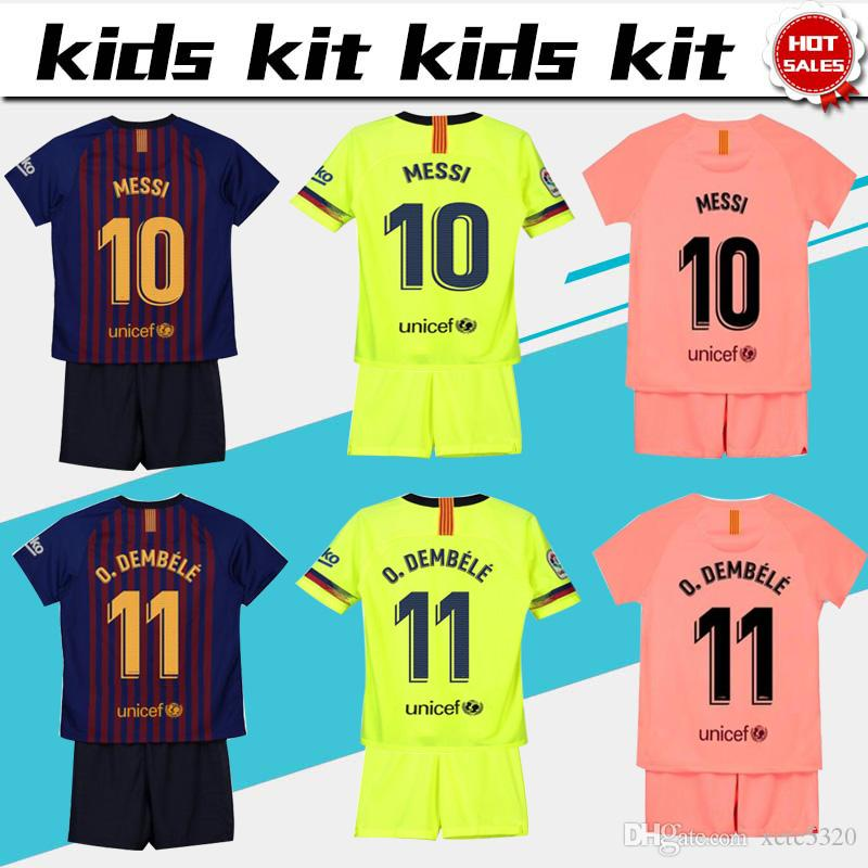 b137cca93 2019 2019 Kids Kit Barcelona Home Football Jersey 18 19  10 MESSI Away Boy Soccer  Jerseys  11 O.DEMBELE  8 ARTHUR Child 3rd Red Soccer Shirts From Xctc5320
