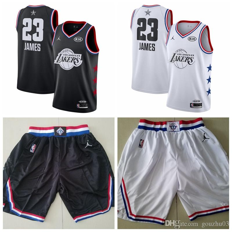 sale retailer f39e2 740e7 Men's Los Angeles City LeBron Laker 23 James Brand White Black 2019  All-Star Game Finished Swingman Jersey And Ball Short