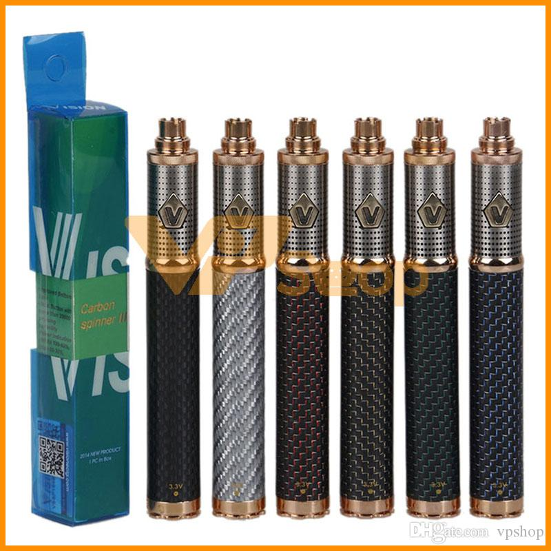 Carbon Vision Spinner 3 III Battery Fiber 1650mAh Variable Voltage Bottom VV Vape Pen Battery For 510 Ego CE4 Vision Atomizer Tank