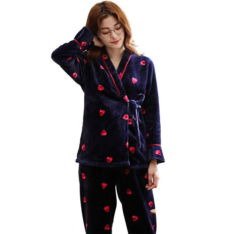 2019 Flannel Pajamas For Women Winter Pyjamas Long Sleeve Comfortable Soft  Casual Soft Two Piece Set Pyjamas Mujer Sleepwear Clothes From Huweilan 44001a6d4