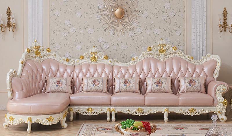 luxury European Style Wooden Full Leather Sofa set living room furniture  china Sofa 1 2 3