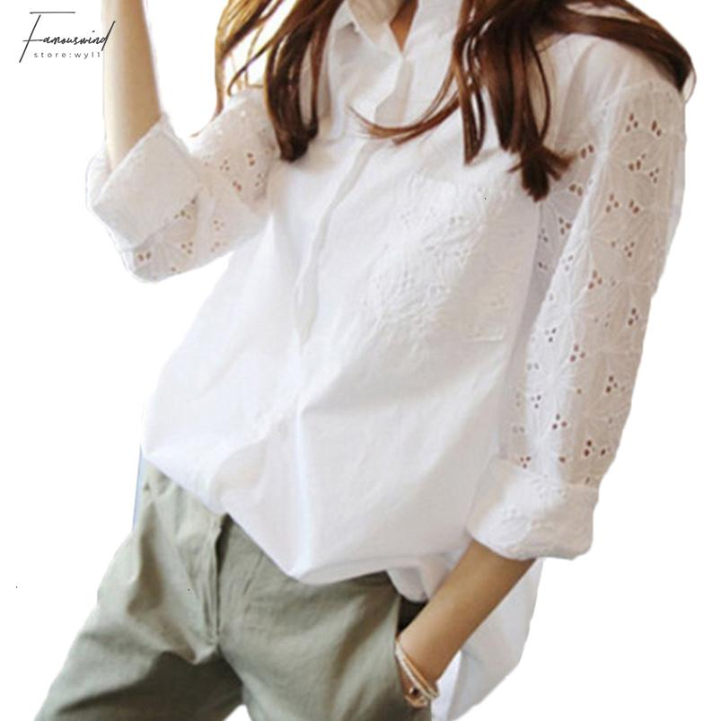 White Long Sleeve Office Womens Tops And Blouses Tunics Plus Size 4Xl 5Xl Womens Blouse Work Shirt 9 10 Sleeves Femininas
