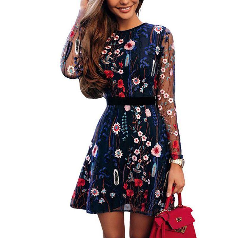 0c961387d58 Großhandel 2019 Sexy Floral Stickerei Kleider Durchsichtig Schwarz Fashion  Party Kleid Sheer Mesh Sommer Langarm Mini A Line Kleid 1X Von Dufflecoat